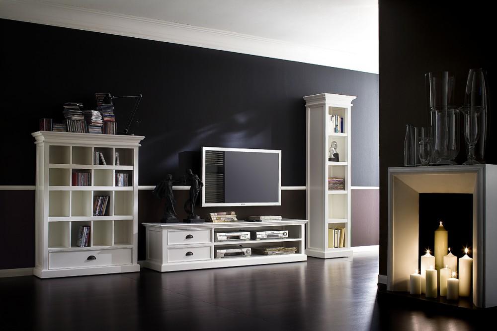 regal wei landhaus b cherregal wei im landhausstil. Black Bedroom Furniture Sets. Home Design Ideas