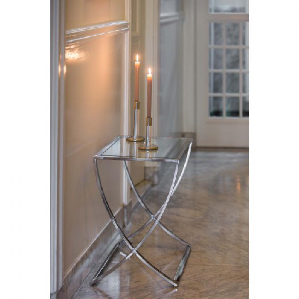 Beistelltisch Silber Glas Metall Verchromt Tisch Verchromt Glas