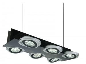LED Pendel/- Hängeleuchte aus Acrylglas, Aluminium, schwarz, matt-silber, einstellbar