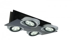 LED Deckenaufbauleuchte aus Acrylglas, Metall in silber-matt, schwarz, einstellbar