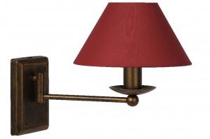 Wandleuchte aus Metall rostbraun, Stoffschirm rot, schwenkbar, Landhausstil