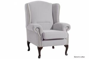 Ohrensessel Farbe silber, Sessel klassisch
