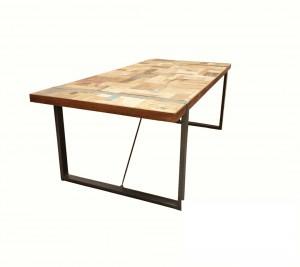Esstisch Industriedesign, Tisch Metall Holz, Länge 200 cm