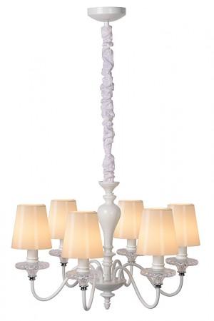 Kronleuchter aus Metall weiß, Opal Glas, Landhausstil