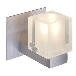 Wandleuchte aus Aluminium/ Glas in silber, weiß/ transparent