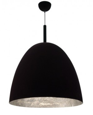 Pendelleuchte Samt schwarz Fiberglas silber dimmbar modern Ø 40 cm