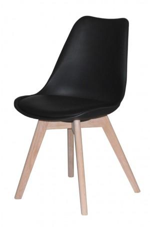 Stuhl schwarz  gepolstert, Stuhl Kunststoff-Holz