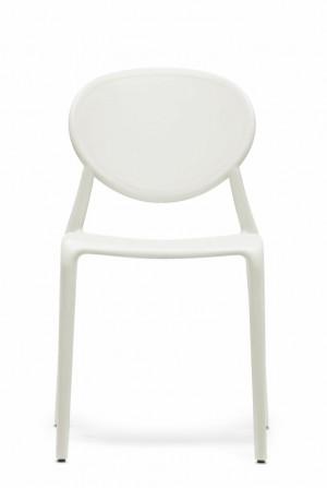 Outdoor Stuhl Kunststoff, Farbe Weiß-Leinen