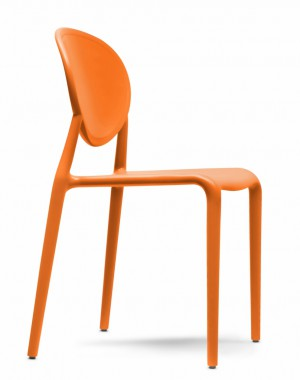 Design Stuhl Kunststoff Glasfaser orange