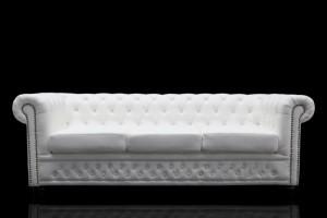 Sofa Chesterfield 3 Sitzer, Kunstleder weiß, Breite 205 cm