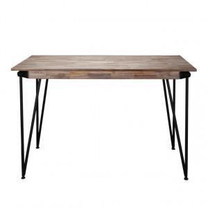 Bartisch grau-braun, Tisch grau Metall, Höhe 92 cm