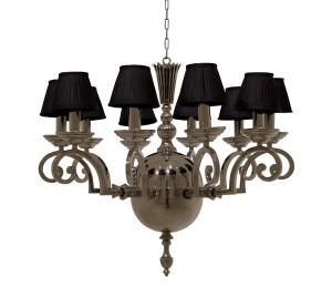 Kronleuchter verchromt 10 flammig mit schwarzen Lampenschirmen, Ø 70 cm