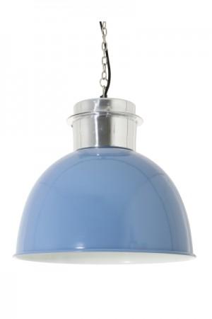 Pendelleuchte im Industriedesign, Hängeleuchte Blau-Silber, Durchmesser 50 cm