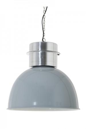 Pendelleuchte im Industriedesign, Hängeleuchte Grau-Silber, Durchmesser 50 cm