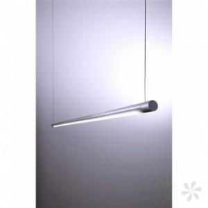 LED Pendelleuchte aus Aluminium, Glas, weiß, silber-matt, höhenverstellbar