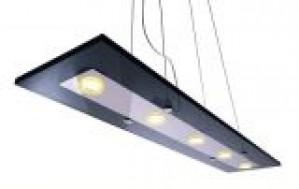 LED Pendelleuchte aus Glas, Metall, schwarz
