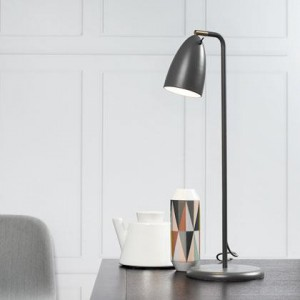 Tischleuchte Metall PVC grau LED