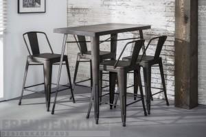 Set - Bartisch mit vier Barhocker,  Metall grau, Tisch grau Metall, Tisch Höhe 92 cm
