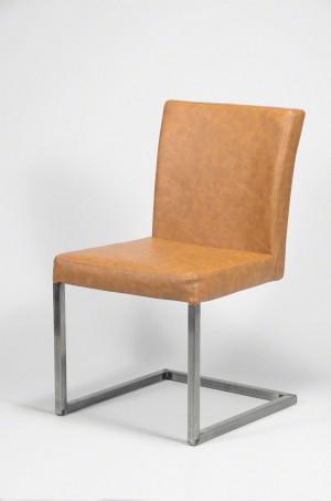 Stuhl gepolstert , Freischwinger Kunstleder, braun