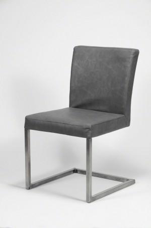 Stuhl gepolstert , Freischwinger Kunstleder, anthrazigt-grau