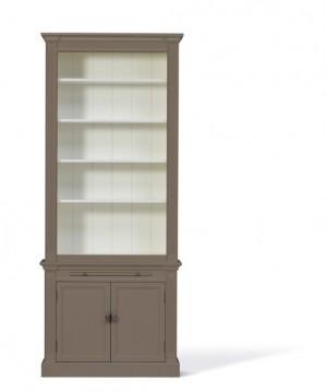 Bücherschrank taupe, Bücherschrank Landhausstil in vier Farben, Breite 100 cm