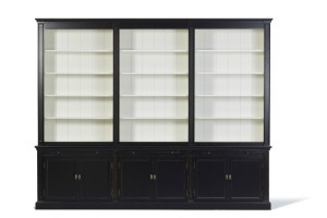 Bücherschrank schwarz Landhausstil, Schrank schwarz Landhaus, Breite 300 cm