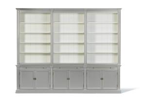 Bücherschrank grau Landhausstil, Schrank grau, Breite 300 cm