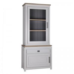 Vitrinenschrank grau, Geschirrschrank weiß, Vitrine im Landhausstil, Maße 220x95 cm