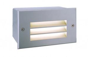 LED Outdoorwandeinbauleuchte aus Aluminium, PVC, matt-silber, 3000K