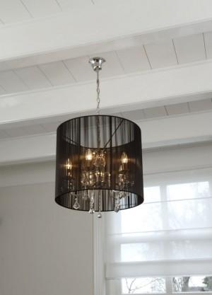Hängelampe, Hängeleuchte mit einem schwarzen Lampenschirm, Ø 50 cm
