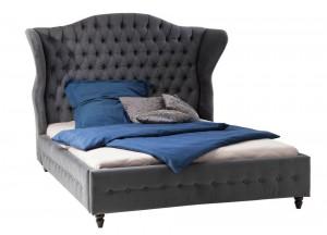Bett gepolstert grau im Landhausstil, Bett Barock grau, Maße 200 x 200 cm