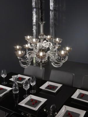 Kronleuchter mit 12-flammig, Hängeleuchte aus Glas, Acryl, verchromt, Ø 82 cm