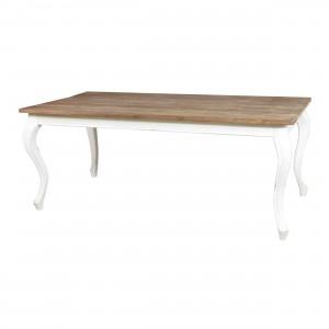 Esstisch im Landhausstil aus Massivholz, Tisch weiß-braun, Länge 220 cm