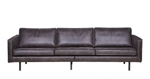 Ledersofa 3-Sitzer schwarz, Sofa Echtleder schwarz