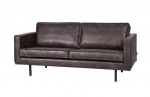 Ledersofa 2-Sitzer schwarz, Sofa Echtleder schwarz
