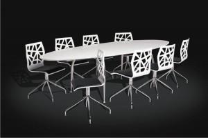 Moderner ovaler Esstisch, Meetingtisch weiß, Konferenztisch oval weiß