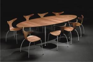 Moderner, ovaler Esstisch, Meetingtisch, Konferenztisch, Farbe Walnuss furniert