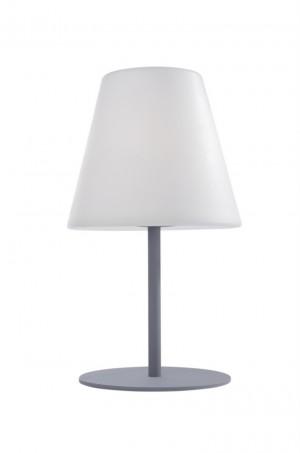 Tisch-/ Boden-/Outdoorleuchte Kunstoff weiß Metall silber modern