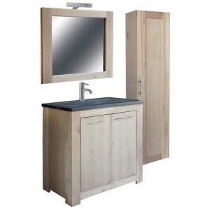 Badezimmer Set, Eiche massiv, Waschtisch mit Badezimmerschrank und Spiegel, Bad Möbel Set, Breite 100 cm