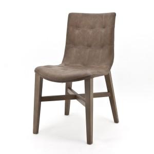 Stuhl braun, gepolstert, Gastro, Holz