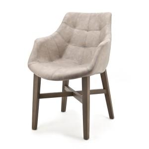 Stuhl mit Kunstleder bezogen, sand, gepolstert