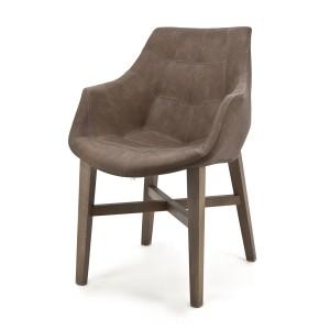 Stuhl mit Kunstleder bezogen, braun, gepolstert