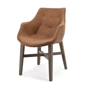 Stuhl mit Kunstleder bezogen, cognac, gepolstert