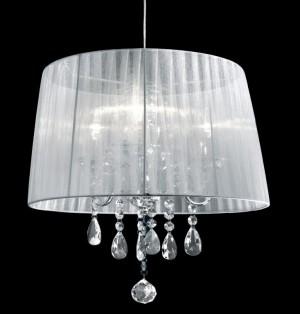 Pendelleuchte Metall chrom Organza weiß Kristall transparent modern klassisch dimmbar