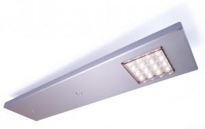 LED Möbelaufbauleuchte aus Aluminium, matt-silber + Sensorschalter