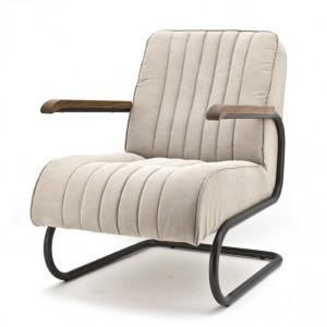 Sessel mit Armlehnen im Industriedesign, Sessel gepolstert beige