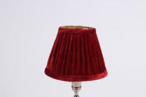 KIemmschirm bordeaux, Steckschirm rot  Velour für Kronleuchter, Form rund Ø 13 cm