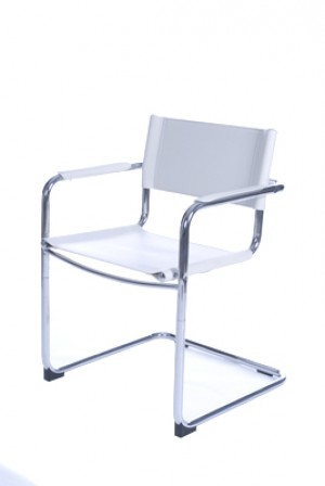Freischwinger weiß verchromtes Gestell, Stuhl weiß, Bürostuhl weiß