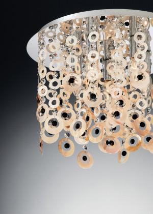 Deckenleuchte Metall chrom, perlmutt schwarz, modern