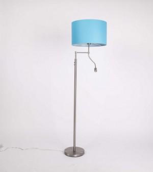 Stehleuchte mit LED-Leselampe,  Lampenschirm in Farbe Türkis-Blau